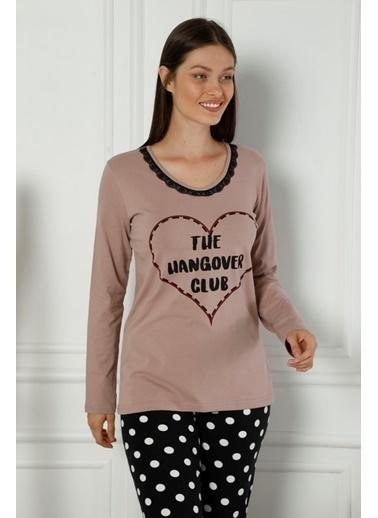 Siyah İnci Dantelli Pamuklu Likralı Pijama Takım Renkli